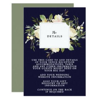 cartão de informação floral dos detalhes do
