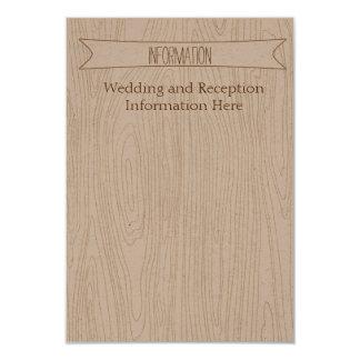 Cartão de informação simples rústico do Woodgrain Convites