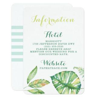 Cartão de informação tropical do casamento de