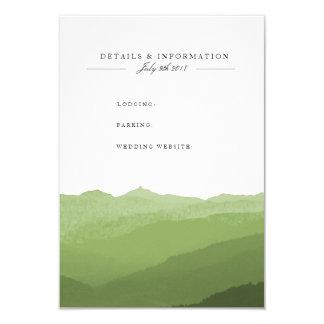 Cartão de informação verde da montanha da aguarela convite 8.89 x 12.7cm
