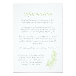 Cartão de informação verde do Birds of a Feather Convite 11.30 X 15.87cm