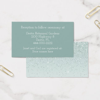 Cartão de informação verde do casamento da hortelã