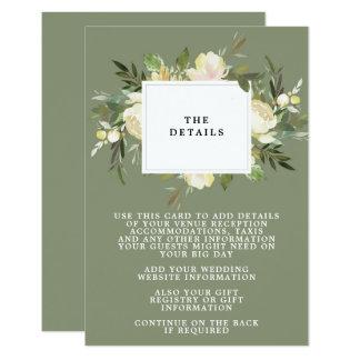 cartão de informação verde floral dos detalhes do