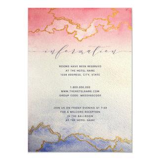 Cartão de informação Wedding da aguarela Wash  do