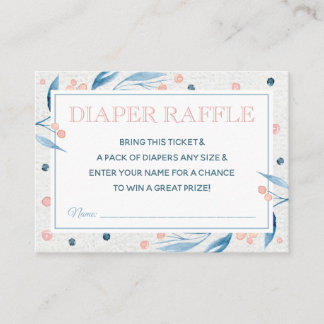 Floral Watercolor Diaper Raffle Ticket, Blue, Pink