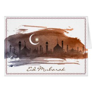 Cartão de Islamlic Eid Mubarak da aguarela