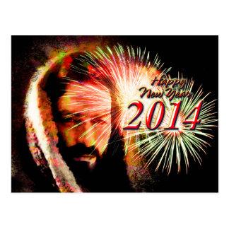 Cartão de Jesus do amor do feliz ano novo 2014 Cartão Postal