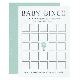 Cartão de jogo do Bingo do chá de fraldas do balão