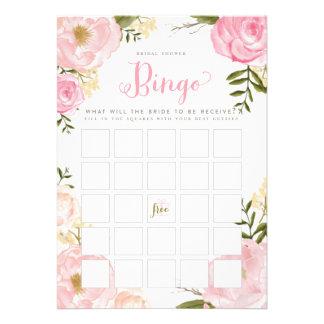 Cartão de jogo floral romântico do Bingo do chá de Convites