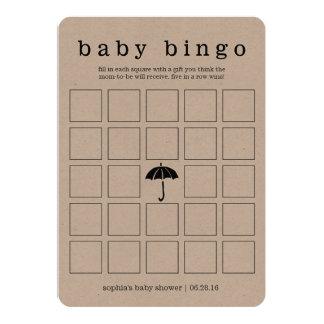 Cartão de jogo frente e verso do chá de fraldas convite 12.7 x 17.78cm