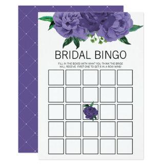 Cartão de jogo roxo violeta floral do Bingo do chá