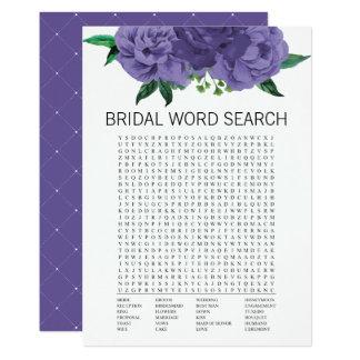 Cartão de jogo violeta floral da busca da palavra