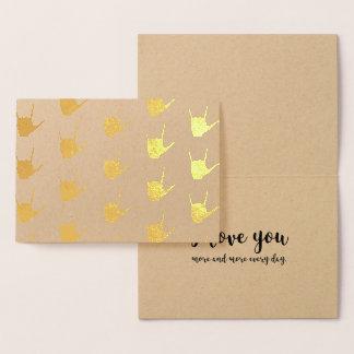 Cartão de Kraft da folha de ouro do linguagem