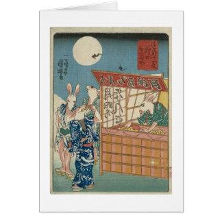 Cartão ` De Kuniyoshi os doze sinais cómicos do Zodiac