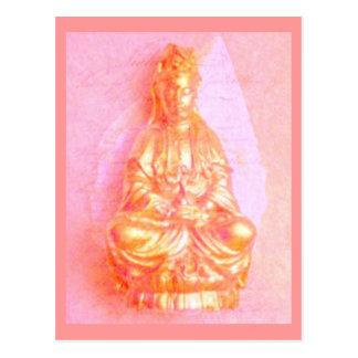 Cartão de Kwan Yin do Rosa-Ouro