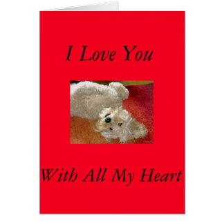Cartão de Labradoodle eu te amo