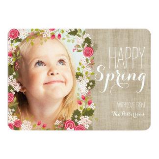 Cartão | de linho floral da foto do primavera convite 12.7 x 17.78cm