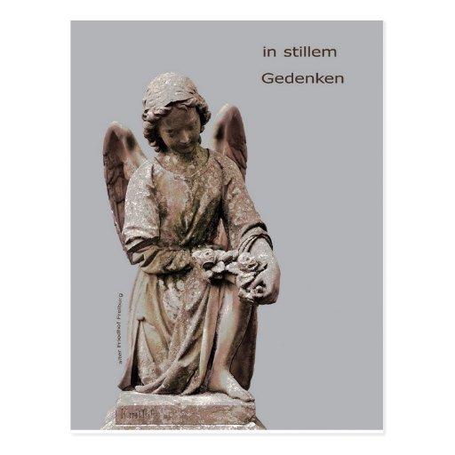 Cartão de luto com anjo cartoes postais