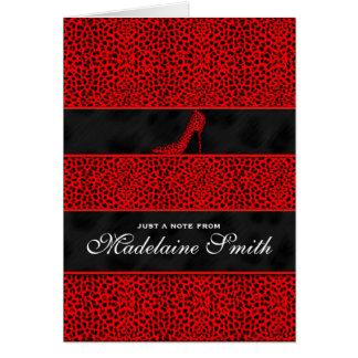 Cartão De luxe personalizado da chita impressão vermelho