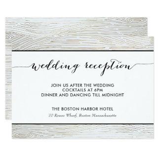 Cartão de madeira da recepção de casamento da grão
