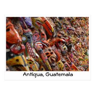 Cartão de madeira das máscaras de Antígua,