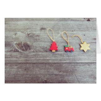 Cartão de madeira do Natal dos Trinkets Cartão Comemorativo
