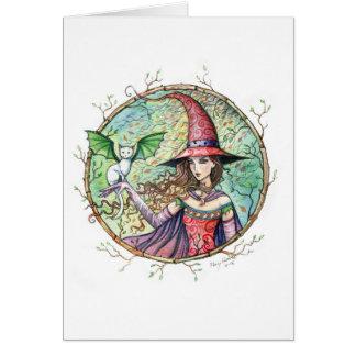 Cartão de madeira místico do gato da bruxa do Dia