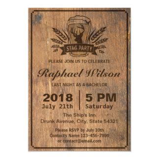 Cartão de madeira retro do despedida de solteiro convite 12.7 x 17.78cm