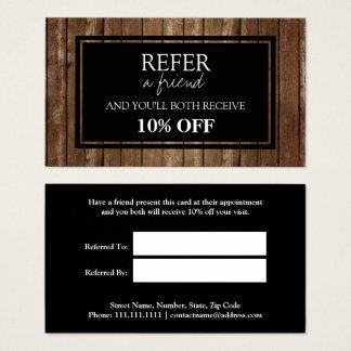 Cartão de madeira rústico da referência