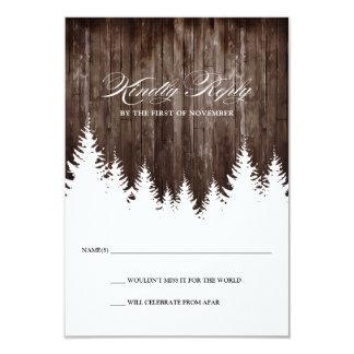 Cartão de madeira rústico da resposta RSVP do