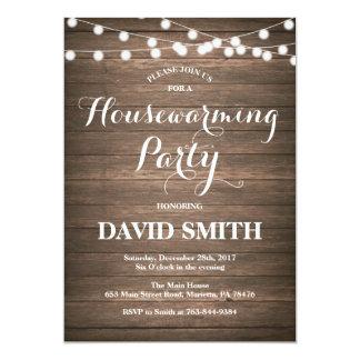 Cartão de madeira rústico do convite de festas do