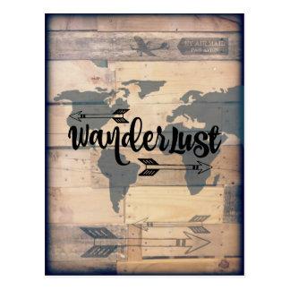 Cartão de madeira rústico do viagem do Wanderlust