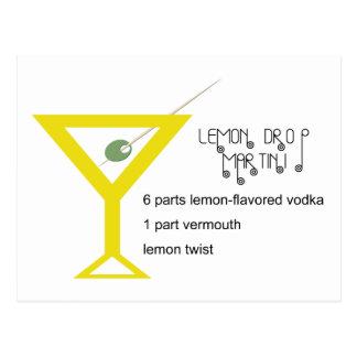 Cartão de Martini da gota de limão