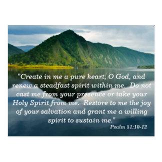 Cartão de memória da escritura do salmo 51 10 - 12