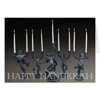 Cartão de Menorah Hanukkah da dança