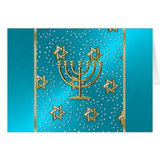 Cartão de Menorah Hanukkah de turquesa e de ouro