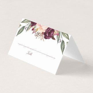 Cartão De Mesa A aguarela de Borgonha floresce o casamento