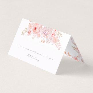 Cartão De Mesa Aguarela floral cor-de-rosa
