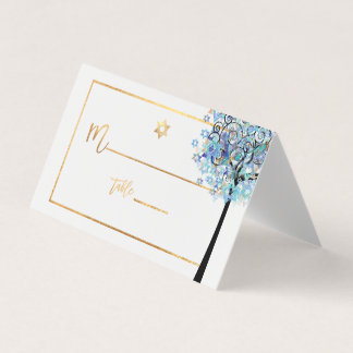 Cartão De Mesa Árvore de PixDezines de vida+Azul do Aqua