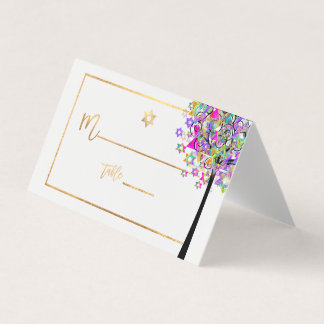 Cartão De Mesa Árvore de PixDezines de vida+Rosa+Verde+Ouro do