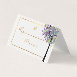 Cartão De Mesa Árvore de PixDezines de vida+Roxo+Verde