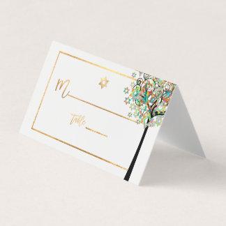 Cartão De Mesa Árvore de PixDezines de vida+Verde+Alaranjado