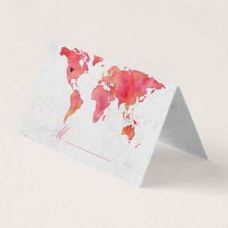Cartão De Mesa Assento da mesa do casamento do mapa do mundo da