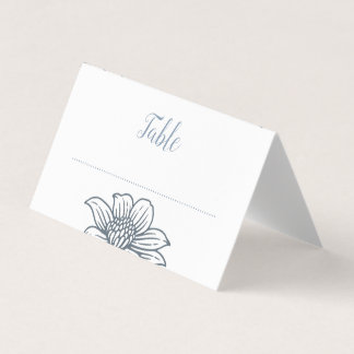Cartão De Mesa Azuis empoeirados & coram as flores que Wedding