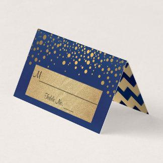 Cartão De Mesa Azuis marinhos e ouro Chevron e pontos 2 dos