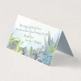 Cartão De Mesa Azul de aço da aguarela do jardim do Succulent