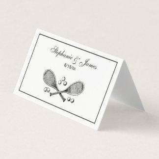 Cartão De Mesa Bolas de tênis cruzadas vintage da raquete de
