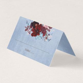 Cartão De Mesa Borgonha e aguarela floral azul empoeirada