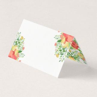 Cartão De Mesa Buquê do rosa coral & amarelo