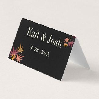Cartão De Mesa Casamento do outono do bordo da queda
